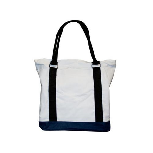 "15"" tote bag white/navy ( Case of 18 )"
