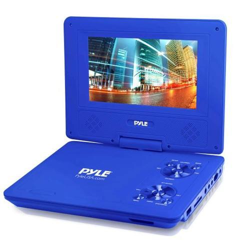 9 Inch Portable CD/DVD Player, Built-in Rechargeable Battery, USB/SD Card Memory Readers (Blue)
