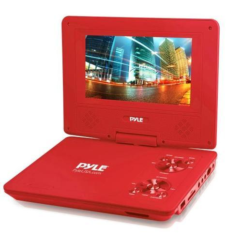 9 Portable CD/DVD Player, Built-in Rechargeable Battery, USB/SD Card Memory Readers (Red)