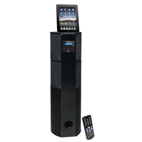 600 Watt Digital 2.1 Channel Home Theater Tower w/ Docking Station for iPod/iPhone/iPad (Black Glossy Color)
