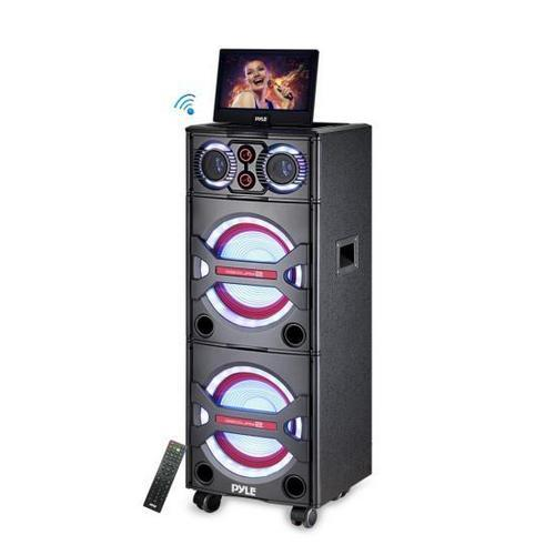 Bluetooth PA Loudspeaker Karaoke Entertainment Audio & Video System, Active Powered Speaker, CD/DVD Player with 10'' Display, Flashing DJ Party Lights, MP3/USB/SD, FM Radio, Wireless Mic