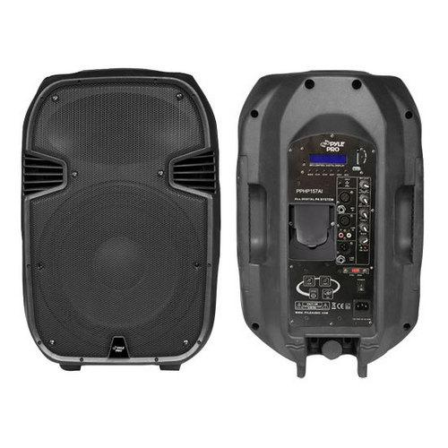 15'' 1400 Watt Powered 2-Way Full Range PA Loudspeaker System with Built-in 30-Pin iPod Dock, USB Flash & SD Memory Card Readers, LCD Display, Mic Input, Remote Control