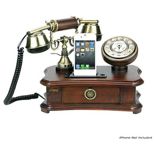 Authentic Classical Themed Home Telephone System - Integrated Speaker & 3.5mm Audio Input Jack for use with iPhones, Androids, Blackberry and Any Audio Device