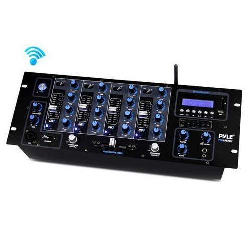 4-Channel Bluetooth DJ Mixer with USB Flash, SD Memory Card Readers & LCD Digital Display