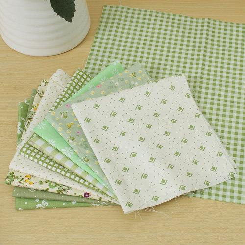 10pcs Cotton Fabric Patchwork Green Floral Series DIY Bundle For Sewing Dolls Crafts