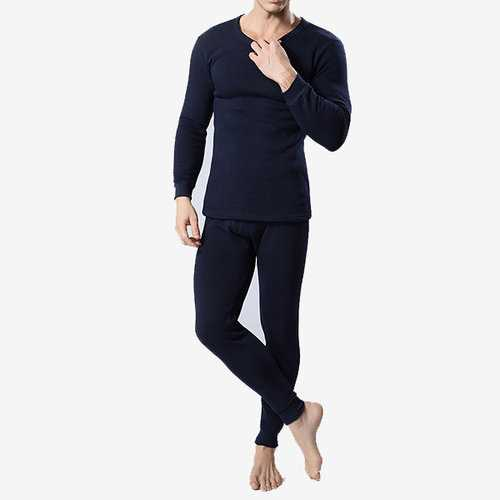 Casual Comfortable Breathable Solid Color O-Neck Inside Thicken Fleece Pajamas Sets for Men