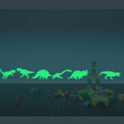 9PCS Wall Stickers Dinosaurs Decal Luminous Fluorescent Home Decor