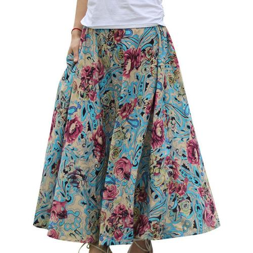 Bohemian Loose Hem Pocket Style Printed Women Skirts
