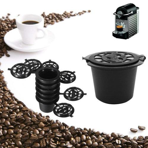 8 Pcs Black Refillable Coffee Capsule Cup Reusable Refilling Filter For Nespresso Machine With Brush