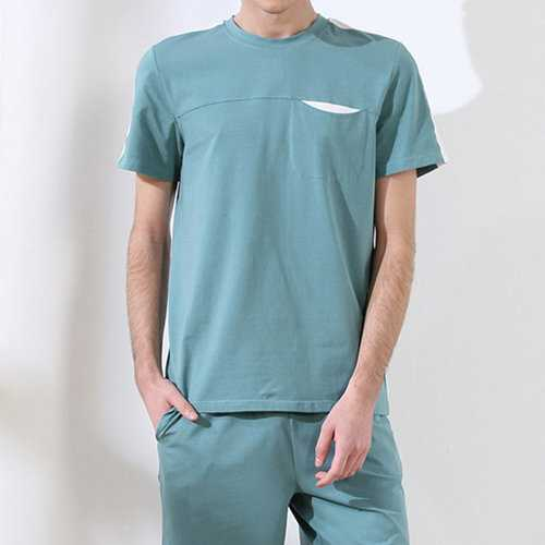 Casual Home Cotton Breathable Loose Short Sleeve Pajama Sets for Men