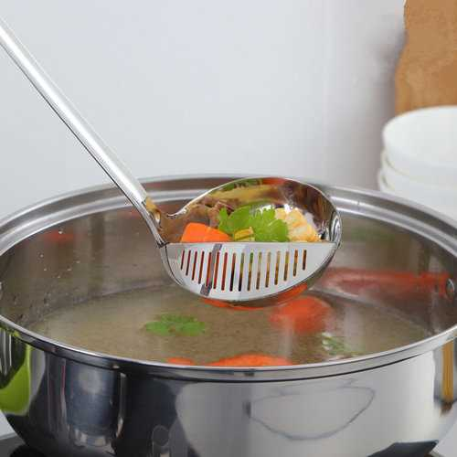Stainless Steel Colander Filter Oil Long Handle Colander Scoop Kitchen Vegetable Strainer Soup Spoon
