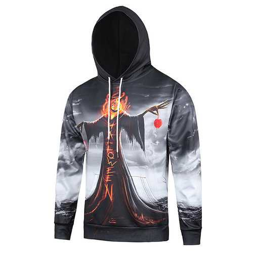 Halloween Printed Funny Hooded Sweatshirts for Men