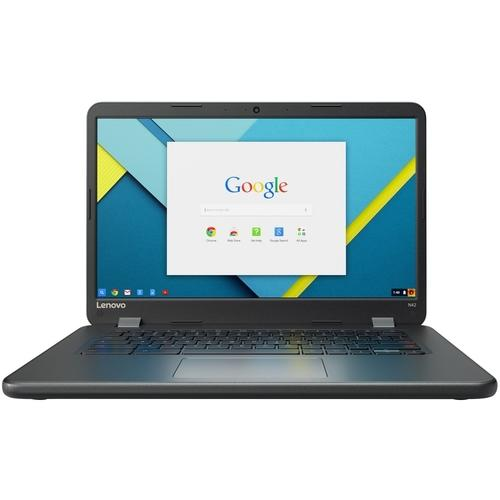 A Lenovo Chromebook N42-20 80US0000US 14 Chromebook - Intel Celeron N3060 Dual-core (2 Core) 1.60 GHz - 4 GB - 16 GB Flash Memory - Chrome OS - 1366 x 768 - Twisted nematic (TN) - Black - Intel HD Graphics 400 - Bluetooth - English (US) Keyboard - Front C