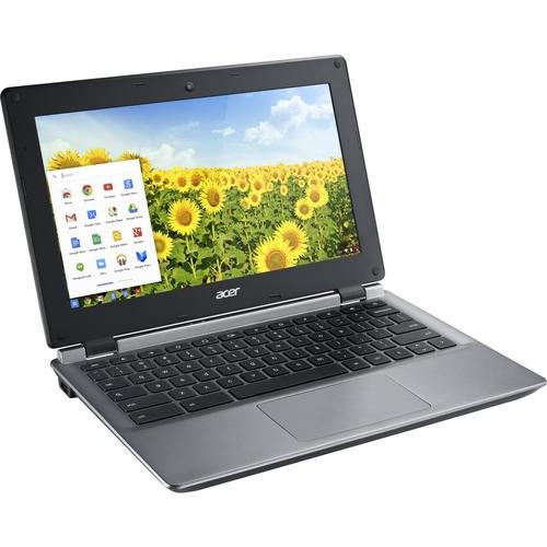 A Acer C730E-C555 11.6 LCD Chromebook - Intel Celeron N2840 Dual-core (2 Core) 2.16 GHz - 4 GB DDR3L SDRAM - 16 GB Flash Memory - Chrome OS - 1366 x 768 - ComfyView - Iron - Intel HD Graphics DDR3L SDRAM - Bluetooth - Front Camera/Webcam - IEEE 802.11b/g/