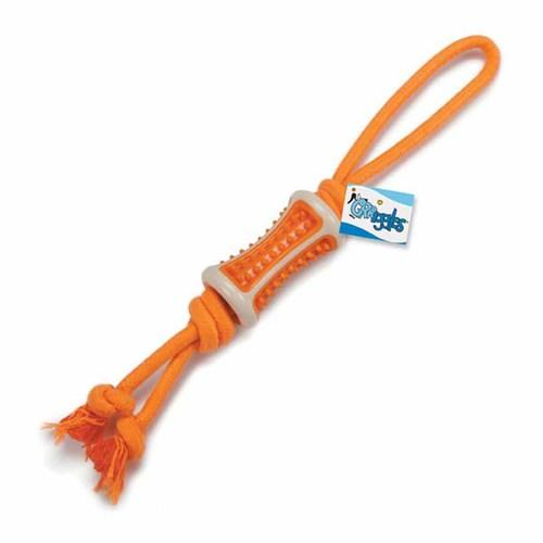 Grriggles Ruff Rope Chew Tug Dog Toy - Orange