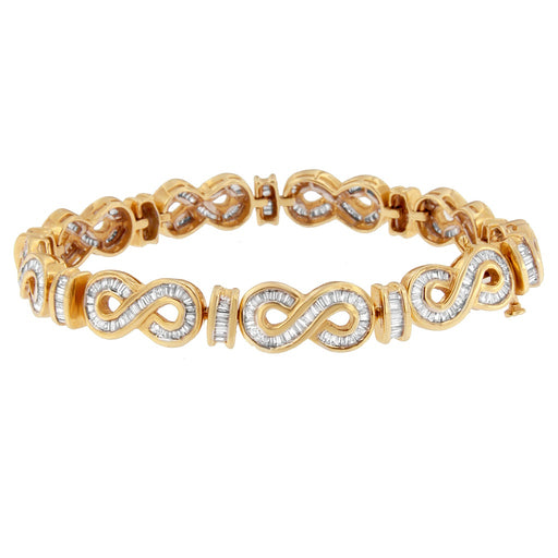 14K Yellow Gold 4ct. TDW Baguette-cut Diamond Bracelet (G-H,SI1-SI2)