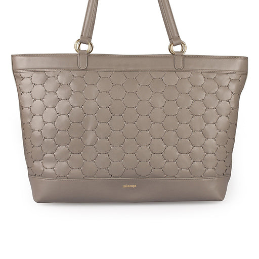 Anqa Leather Tote Bag | Grey