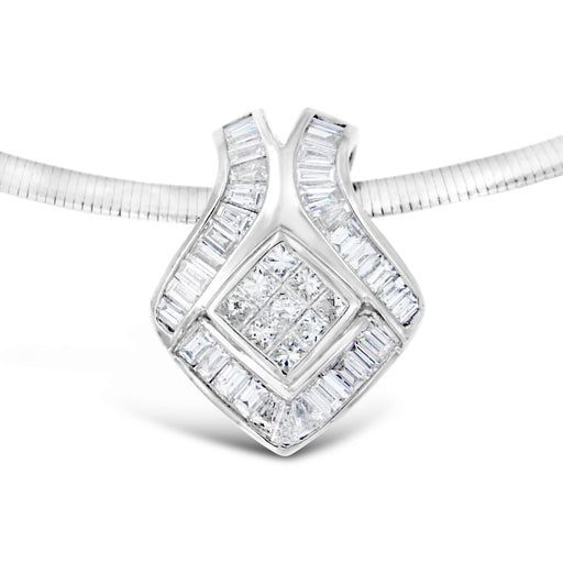 14K White Gold 2.84ct. TDW Princess-Cut Diamond, and Baguette Diamond Fashion Pendant Necklace (G-H, SI2-I1)