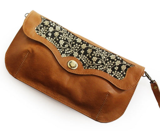 SALE Caramel brown handbag with sparkly embroidery, Leather embroidered purse, Floral evening bag