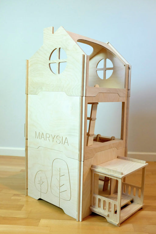Play house (3 units) - wood doll house - tree house - wood montessori modern doll house - large dollhouse
