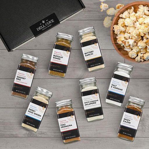 Savory and Spicy Popcorn Seasoning Set - Gift Set of 8 Popcorn Flavorings - Deluxe Gift Box