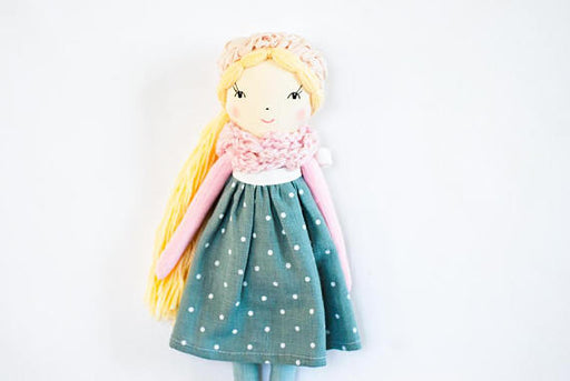 Cloth rag doll, handmade doll, pink teal fabric doll, blonde doll, personalized doll, Christmas gift for girl, girl nursery decor