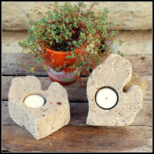 Two Mini Mitten Michigan Candle Holders with Tealight Candles Made of Hypertufa, Lightweight Concrete Home Decor. Mitten Love!