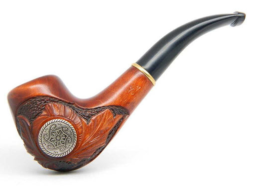 "Celtic style  Wooden Tobacco Smoking pipe ""Celtic"" Pear wood, Celtic Pattern  gunmetal, Geat Collectible plus Gift POUCH"