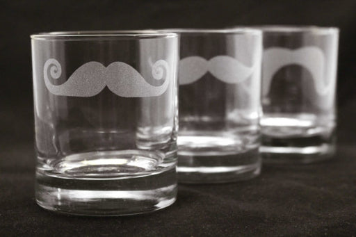 5 Custom Engraved Mustache Old Fashioned - Rocks Glasses for Groomsmen