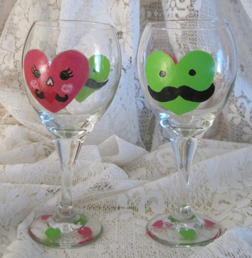Hand Painted Valentine Wine Glasses (set of 2)