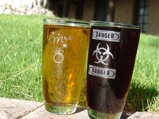 Custom engraved Claret glasses root beer