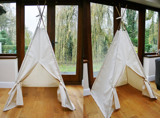 Handmade Plain Cream Calico Teepee. Children's Play Tent / Teepee / Tipi / Wigwam