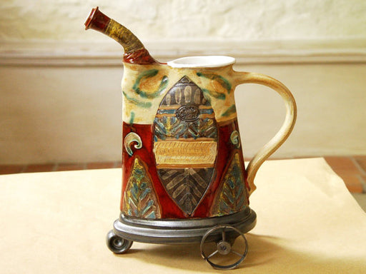 Handmade Ceramic Pitcher with Iron Elements, Pottery Home Decor, Ceramic Art, Wedding gift, Bridal Shower Gift, Housewarming gift, Danko