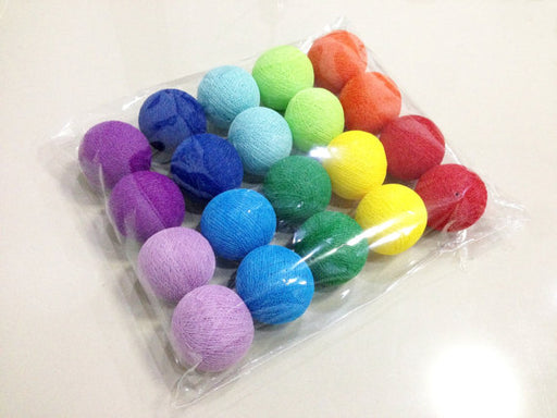 Rainbow cotton ball string lights for Patio,Wedding,Party and Decoration