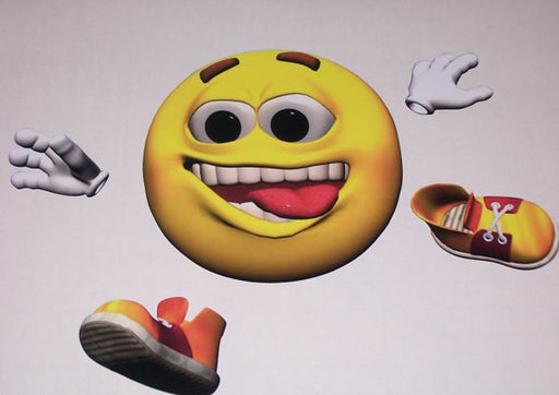 Jumping Runing Emoji Smiley face sticker graphic decal window golf cart go kart Bathroom Stickers Decals Smile Shocker
