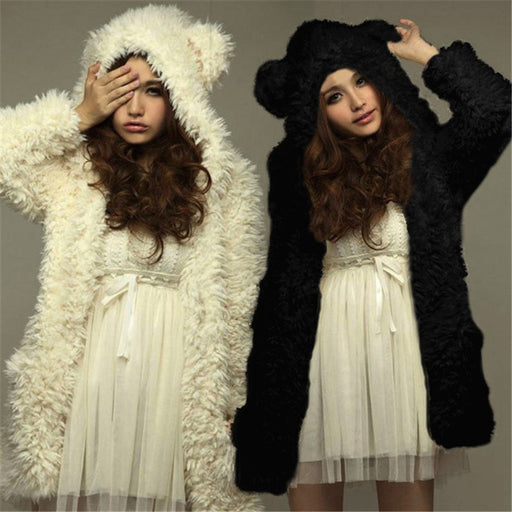 2017 Autumn Winter Sweatshirt Women Coat Warm Fleece Jacket Lovely Bear Ear Casual Black White Hoodie Chaquetas Mujer Plus size