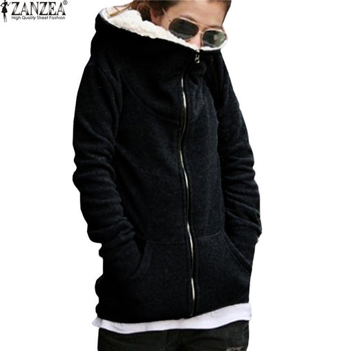 2017 Autumn Winter Women Sweatshirt Hoodie Coat Casual Zipper Up Long Sleeve Fleece Hooded Outwear Jackets Plus Size Black Gray