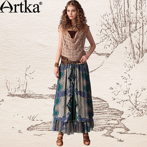 Artka Women'S Chines Style  Print Floral Slim Waist Drawstring Expansion Bottom Chiffon Ankle-Length Full Skirt  QA10443X