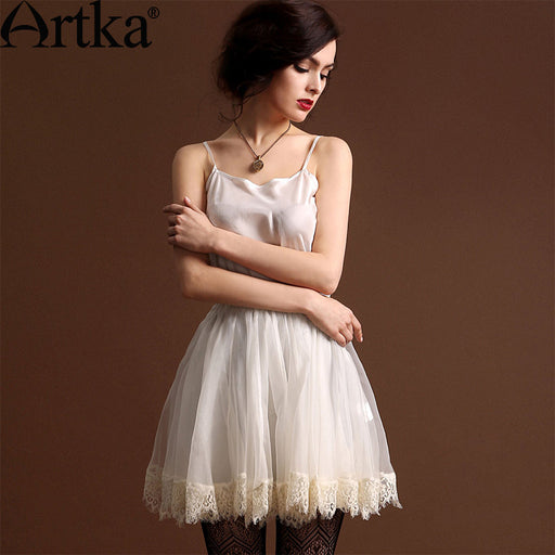 Artka Women'S Luxurious High Quality Silk Eyelash Lace Elastic Waist Slim Pure Solid Ball Gown Lolita Skirt  QA10440X