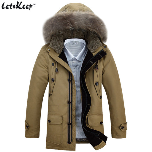 LetsKeep Mens 2016 New Winter Down Jacket Parka Khaki Fur Hood Mens White Duck Down Coat Army faux fur hooded jackets men, ZA197