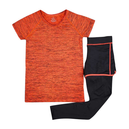 2Pcs Women Sport Running Yoga Fitness Tops Shirts T-Shirt & Pants Legggings Tracksuit Suits Set Quick Dry Newest