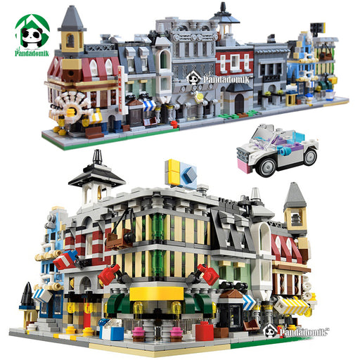 City Street View 1354pcs Building Blocks 5 Houses 1 Car toy Large Bricks Set figure Toys for Children Bricks Compatible Brick