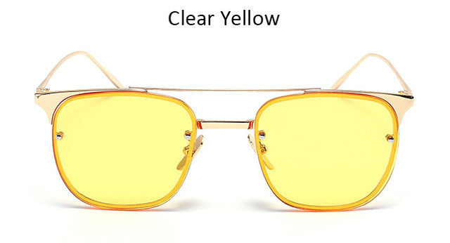 2017 New Women Flat Top Sunglasses Men Fashion Brand Designer Two-beans Clear Mirror Sun Glasses Female Sunglass UV400