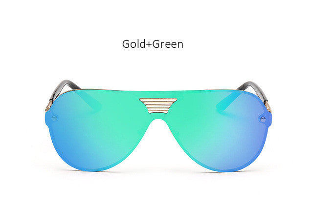 2017 New Shield Sunglasses Men Women Fashion Trend Brand Designer Rimless Alloy Frame Mirror Sun Glasses Aviation For Driving