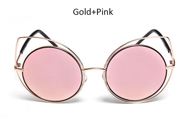 2017 New Round Lenses Big Hollow Metal Frame Cat Eye Sunglasses Women Fashion Vintage Cateye Mirror Sun Glasses Female UV400