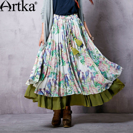 Artka Women's Summer New Floral Printed Double Layer Skirt Elastic Waist Ankle-Length Wide Hem Skirt With Tassels QA14052X