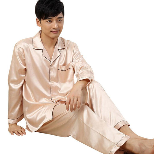 Autumn Winter Mens Sleepwear Loungwear Robes Soft Silk Satin Pajamas Pyjamas Set For Gift