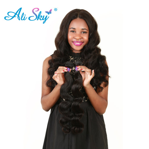 [Ali Sky]1PC Raw Indian Remy Human Hair Extensions Body Wave Bundle Natural Black 1b Can be Dyed Thick Hair Weave Free Shipping
