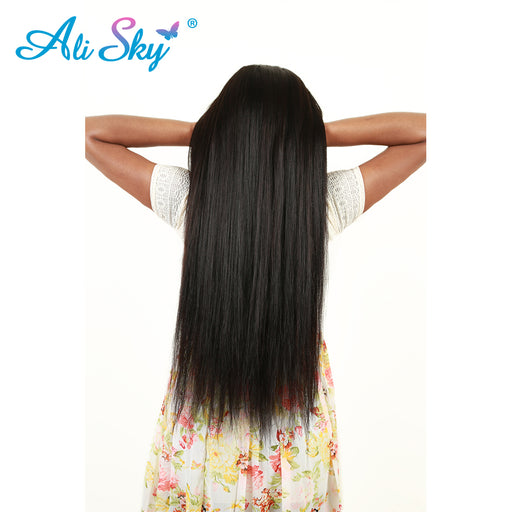 Indian Remy Hair Straight Hair Extensions 1Pcs 100% Human Hair Weave Bundles [Ali Sky] Products Natural Black free shipping 1b