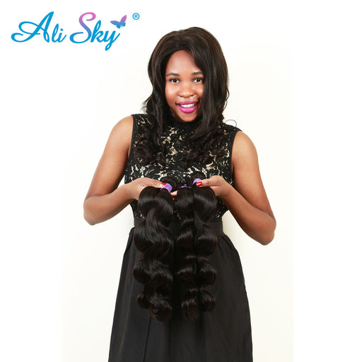 "Ali Sky Brazilian Body Wave Non-Remy Hair Weave 1pc 8""-26"" 100% Human Hair Extensions Double Strong Weft Natural Black 1B# thick"